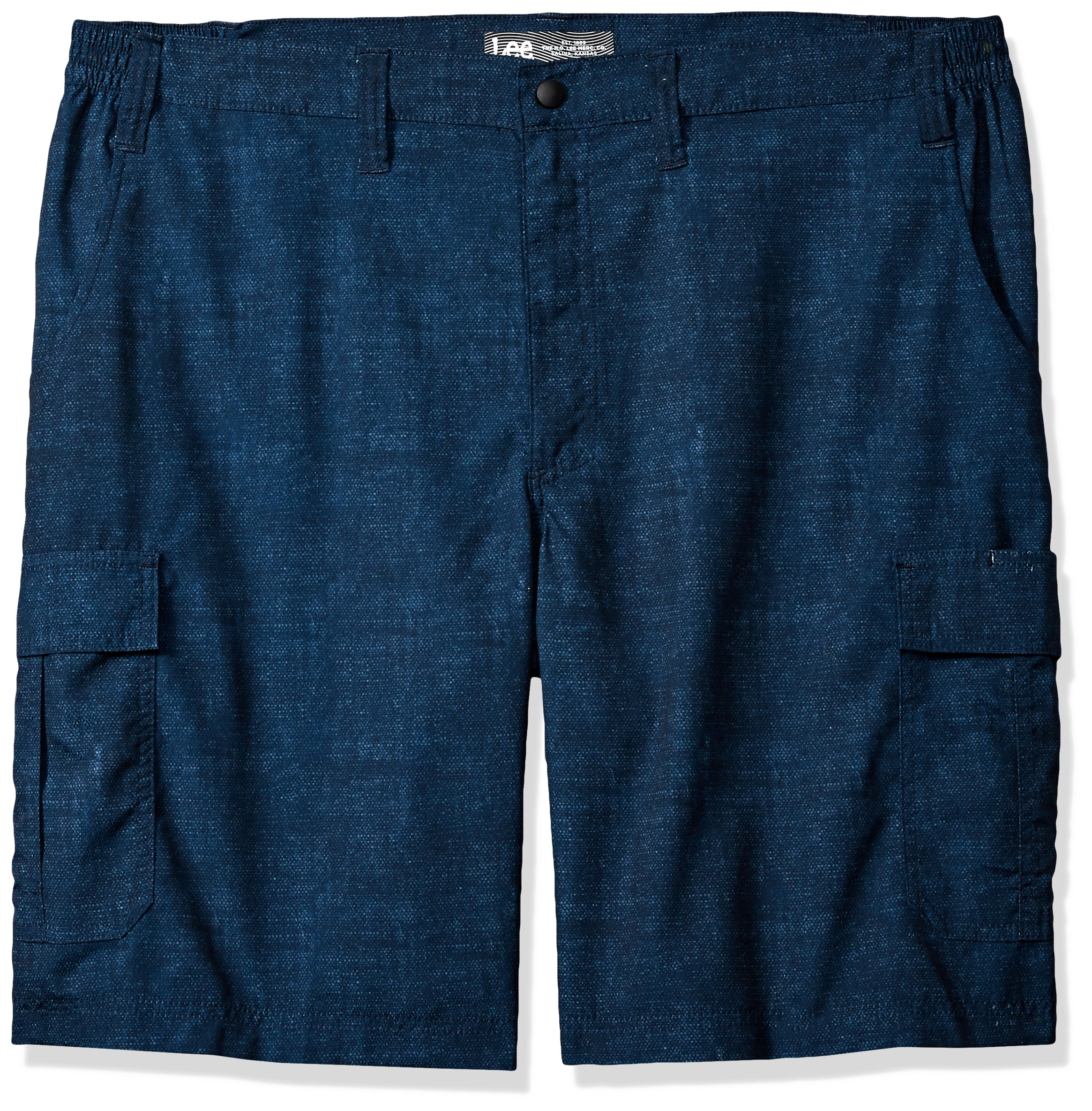 LEE Men's Big and Tall Performance Cargo Short, Navy Textured Dot, 46