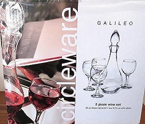 Circleware Galileo 5 Piece Wine Set - Hand Blown - 40 Oz Decanter & Four (4) 8.75 Oz Goblets