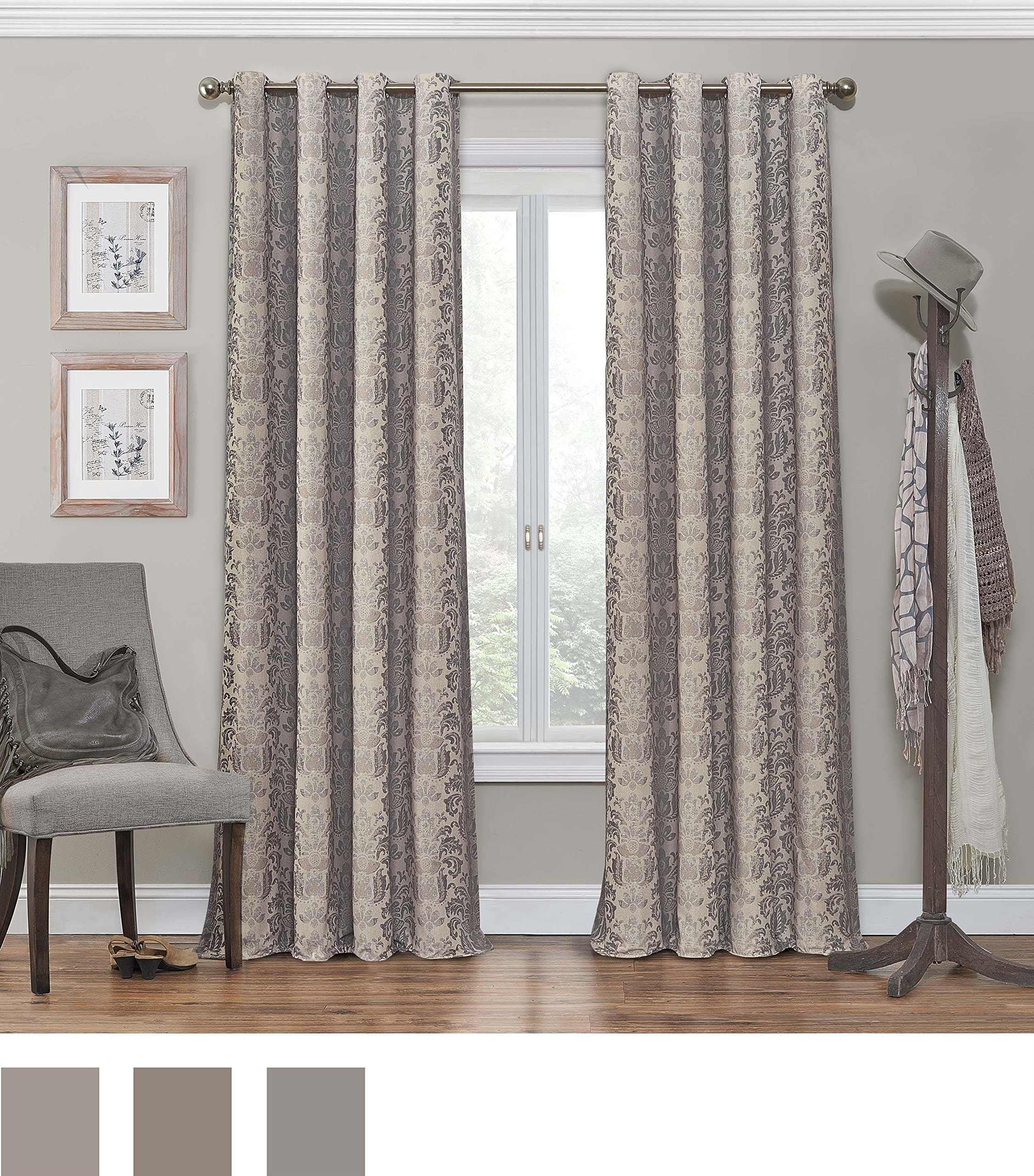 "ECLIPSE Nadya Print Thermal Insulated Single Panel Grommet Top Darkening Curtains for Living Room, 52"" x 84"", Linen - Sold as single panel Blocks 98-99.9% of light compared to ordinary curtains Reduces unwanted noise, and helps to save on home heating and cooling costs - living-room-soft-furnishings, living-room, draperies-curtains-shades - A1G4TeFlzEL -"
