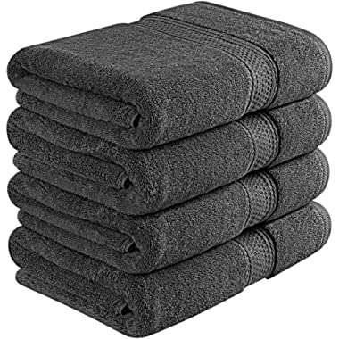 Utopia Towels 700 GSM Premium Bath Towels - 4 Pack Towel Set - (27x54 Bath Towels) - 100% Ring-Spun Cotton Towels for Home, Hotel and Spa (Grey)