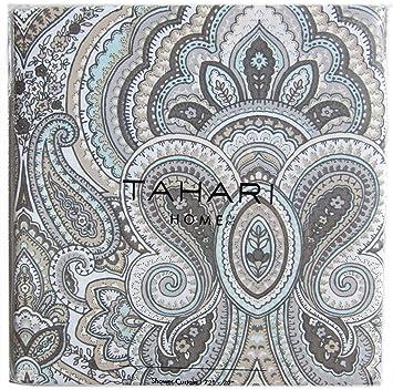 grey and turquoise shower curtain. Tahari Luxury Cotton Blend Shower Curtain Gray Turquoise Taupe Grey  Large Medallions Paisley Scroll Design Amazon com