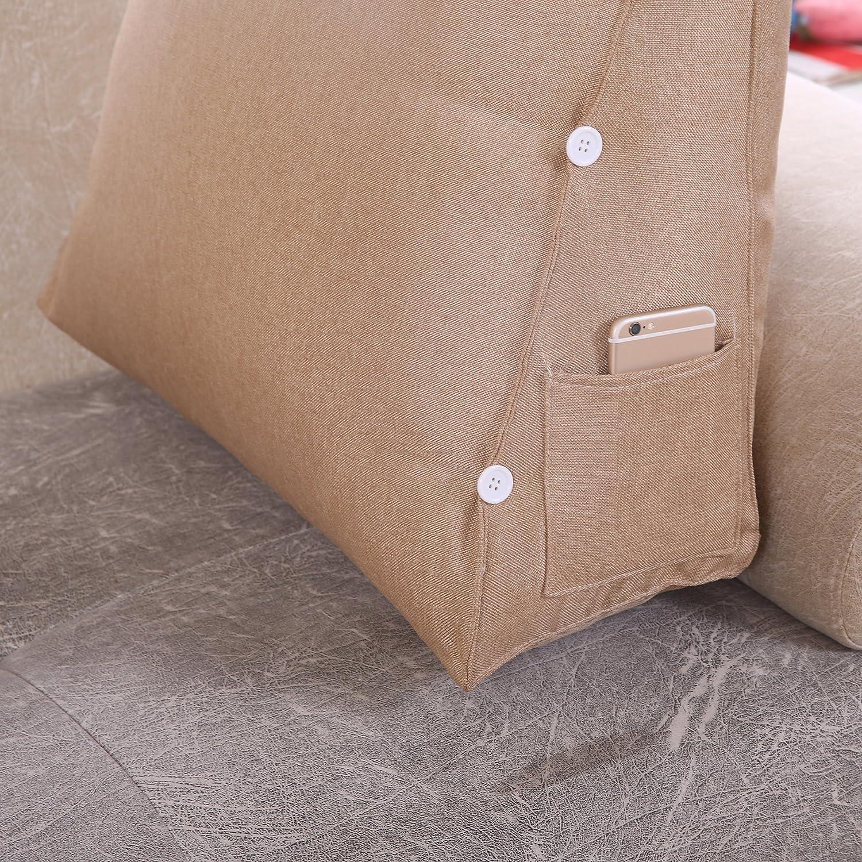 sostegno per schiena e collo per divano letto base triangolare con supporto cilindrico in lino Lino sfoderabile Vercart Marron Claire Cuscino da lettura regolabile 60x50x22cm