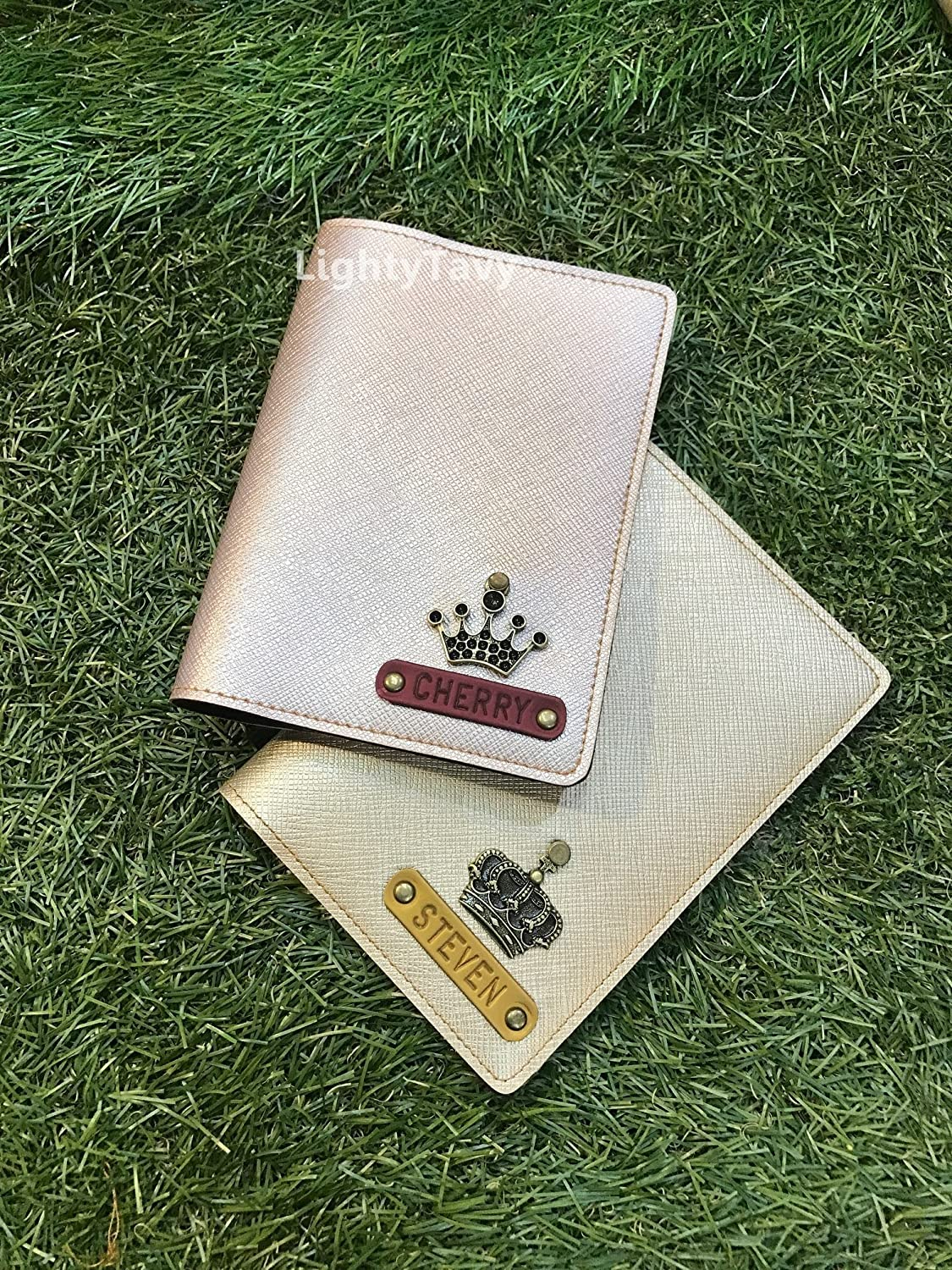 Personalised Shiny Saffiano Passport Holder