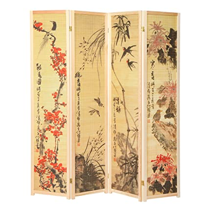 638ead14509 Image Unavailable. Image not available for. Color  MyGift Decorative  Chinese Calligraphy Design Wood   Bamboo Hinged 4 Panel Screen Freestanding  ...