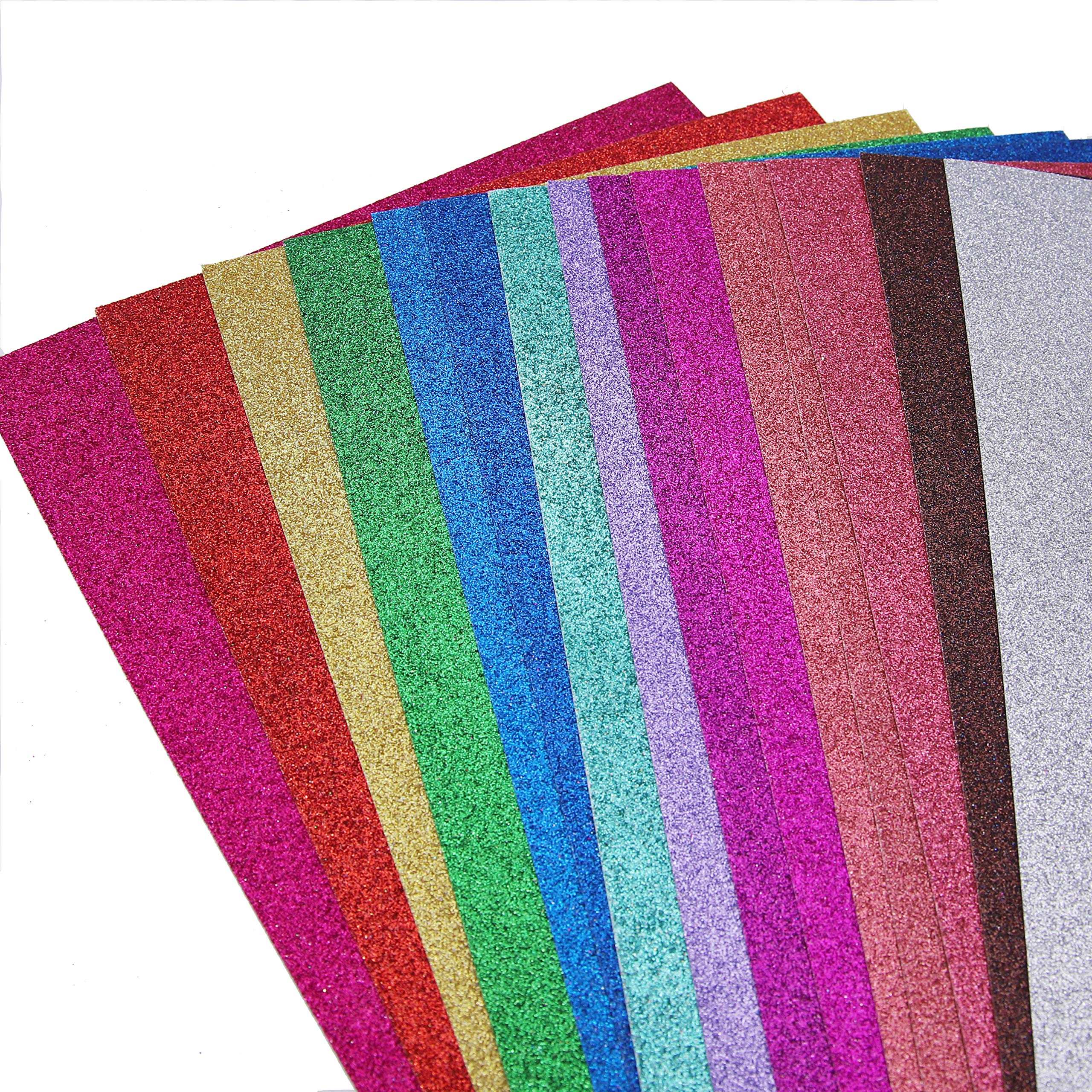 Glitter Cardstock Paper,30 sheets, Sparkle Shinny Craft Sheets, Multi Color Rainbow Glitter Cardstock, Premium A4 Glitter Paper,300 GSM, DIY Party Decorations,15 Colors, Multipack (Pack of 2)