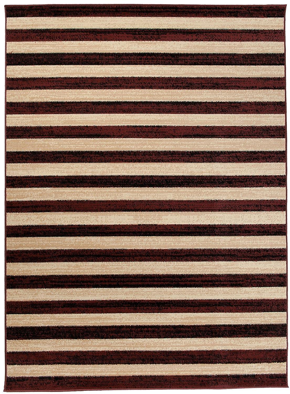 Carpeto Teppich Modern Braun 200 x 300 cm Gestreift Muster Kurzflor Malmo Kollektion