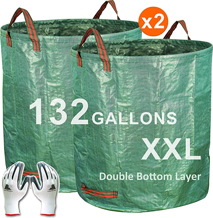 Gardzen 2-Pack 132 Gallons Gardening Bag with Double Bottom Layer - Extra Large Reuseable Heavy Duty Gardening Bags, Lawn Pool Garden Leaf Waste Bag, ...