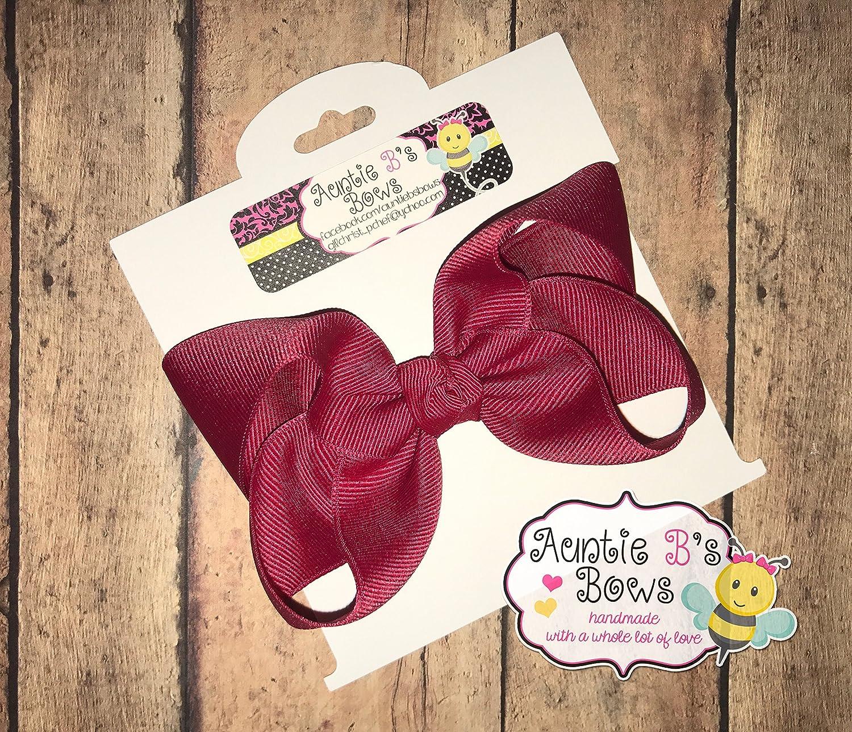 Solid Cranberry (Crimson) Boutique Hair Bow 4