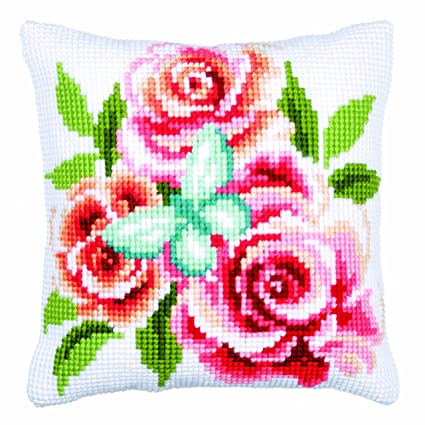 Amazon.com: Vervaco Butterfly & Roses Cushion Cross Stitch Kit