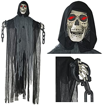 prextex 5 ft animated hanging grim reaper skull with shackles chains best halloween decoration prop - Reaper Halloween