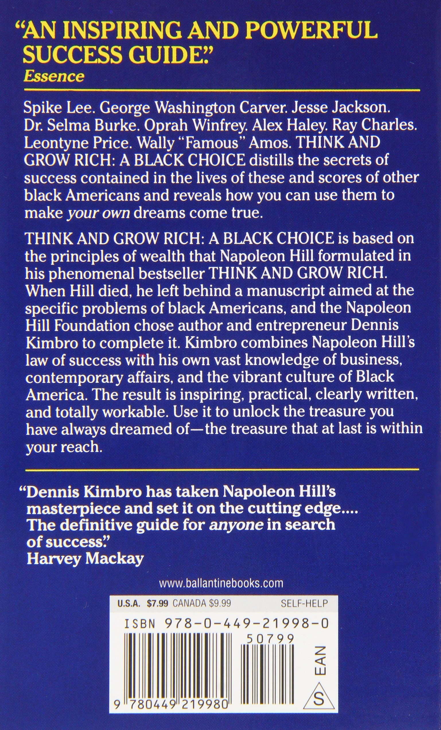 Think and grow rich a black choice dennis kimbro napoleon hill think and grow rich a black choice dennis kimbro napoleon hill 9780449219980 amazon books fandeluxe Choice Image