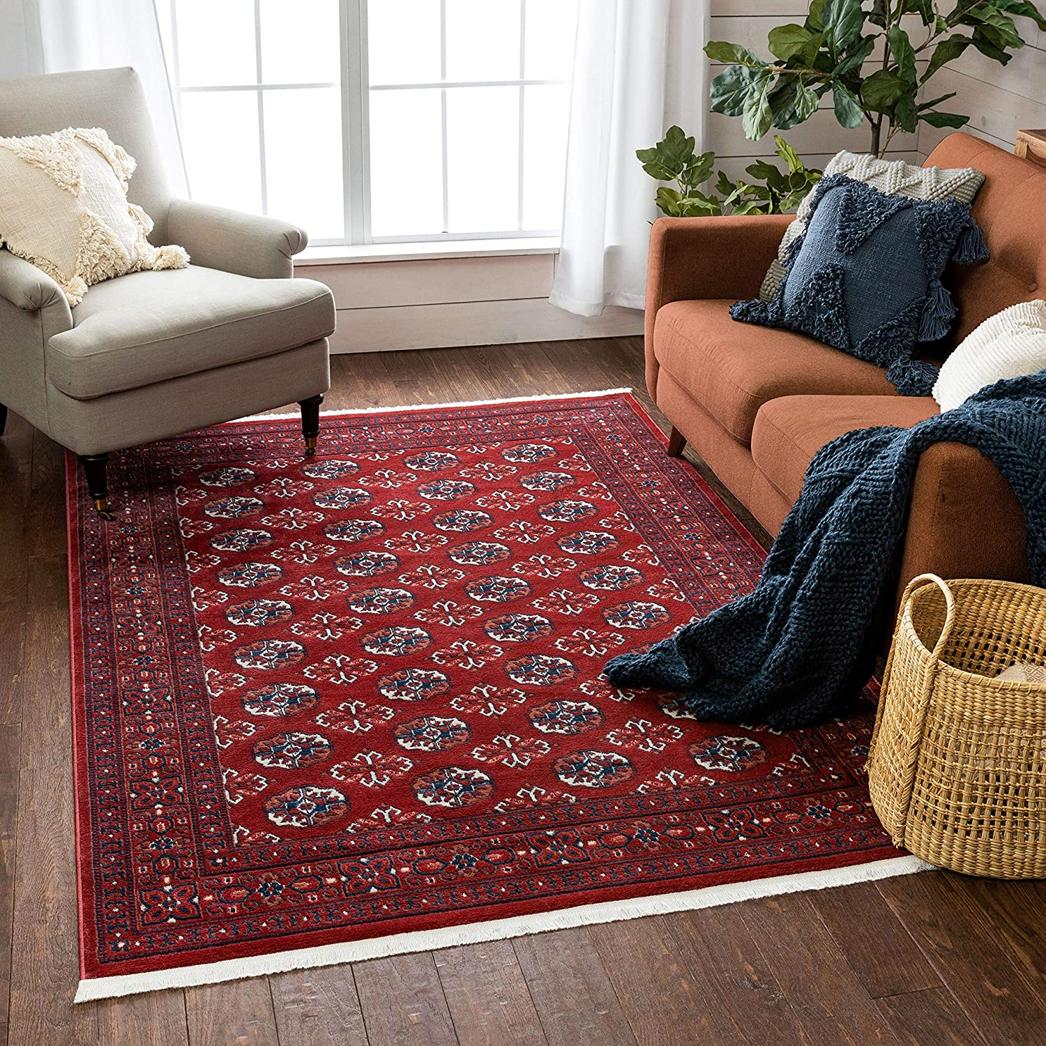 Well Woven Brio Crimson Red Blue Bokhara Tribal Area Rug 5x7 5 3 X 7 3 Home Kitchen