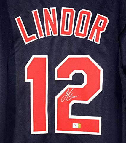 751656c29 Image Unavailable. Image not available for. Color  Francisco Lindor  Cleveland Indians Signed Autographed Blue  12 Custom Jersey Witnessed COA
