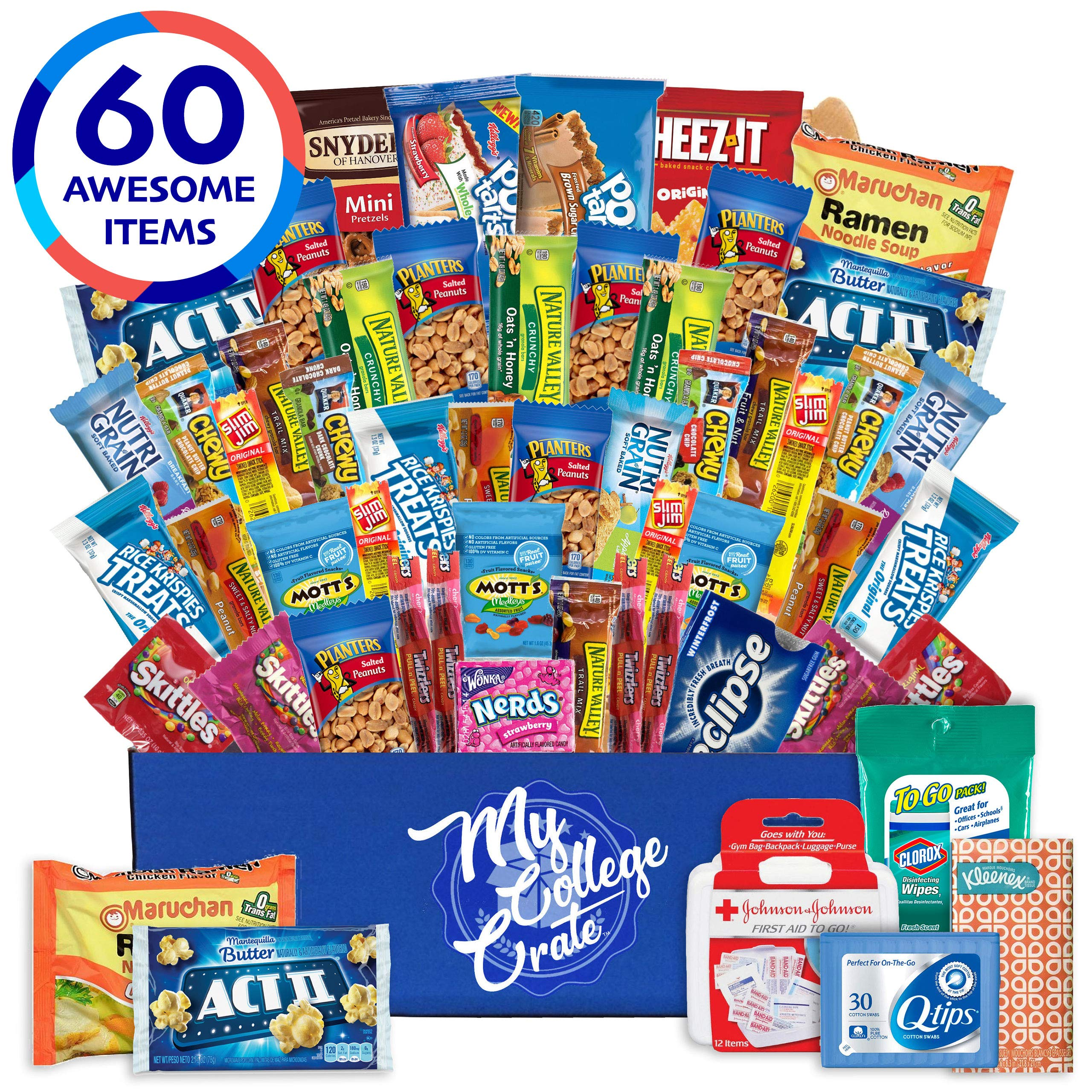 My College Crate Large Ultimate Snack Care Package for College Students - Variety Assortment of Cookies, Chips & Candies - 60 Snacks includes 5 Personal Care Items - The Original College Survival Kit