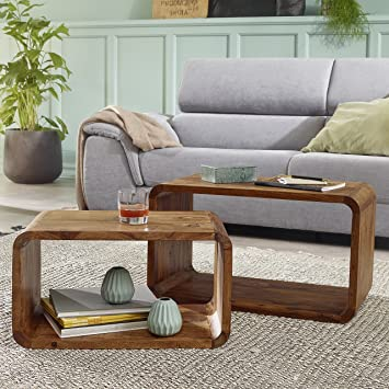 FineBuy 2er Set Satztisch Massiv-Holz Sheesham Wohnzimmer-Tisch ...