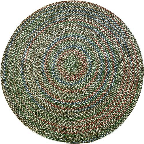 Katherine Multi Round Indoor Outdoor Braided Rug, 6-Feet, Sage