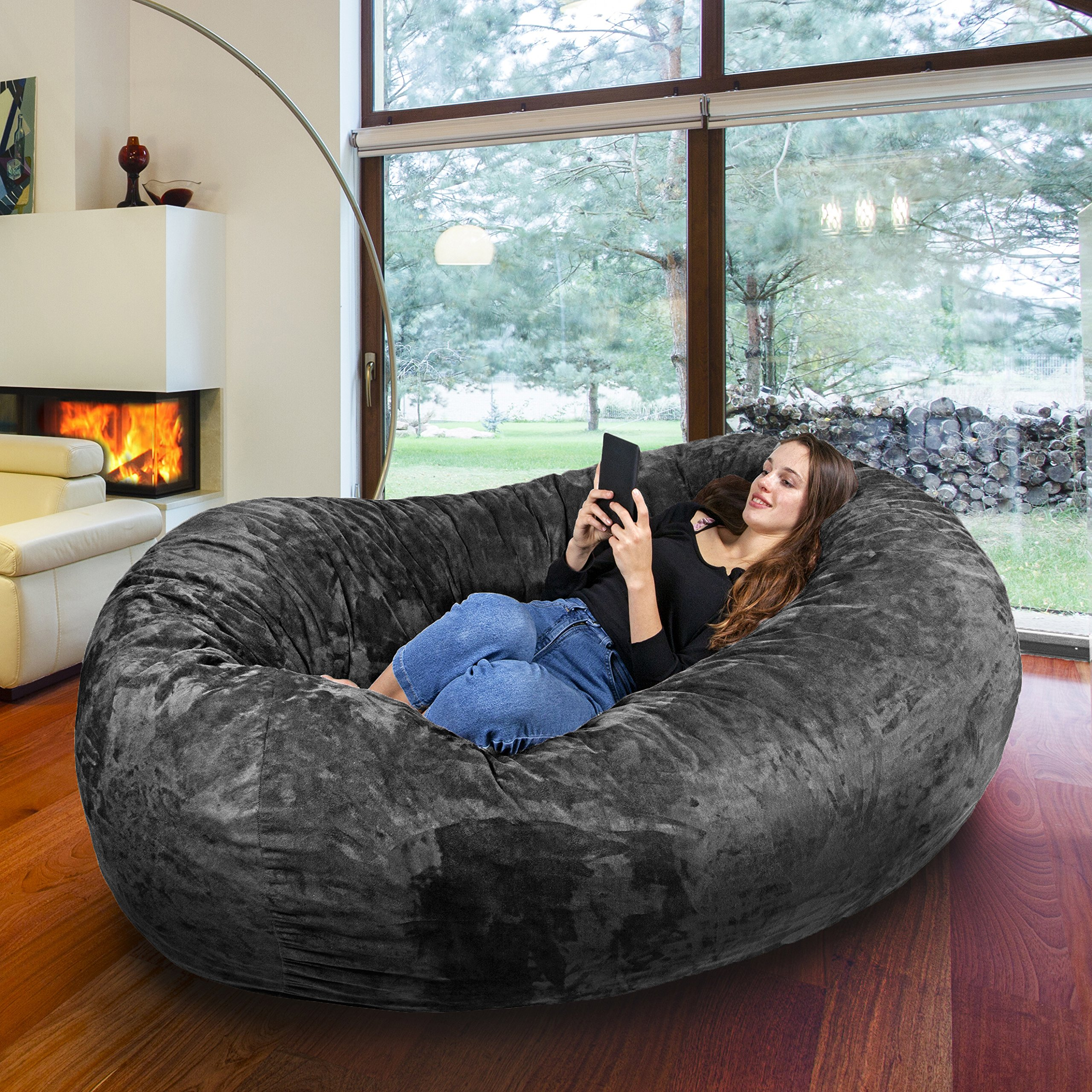 Gigantic Bean Bag Chair in Steel Grey with Memory Foam Filling and Machine Washable Velour Cover- Comfortable Cozy Lounge Sack to Chill - Huge Bed, Large Sofa, Cozy Lounger - Kids, Adults & Teens