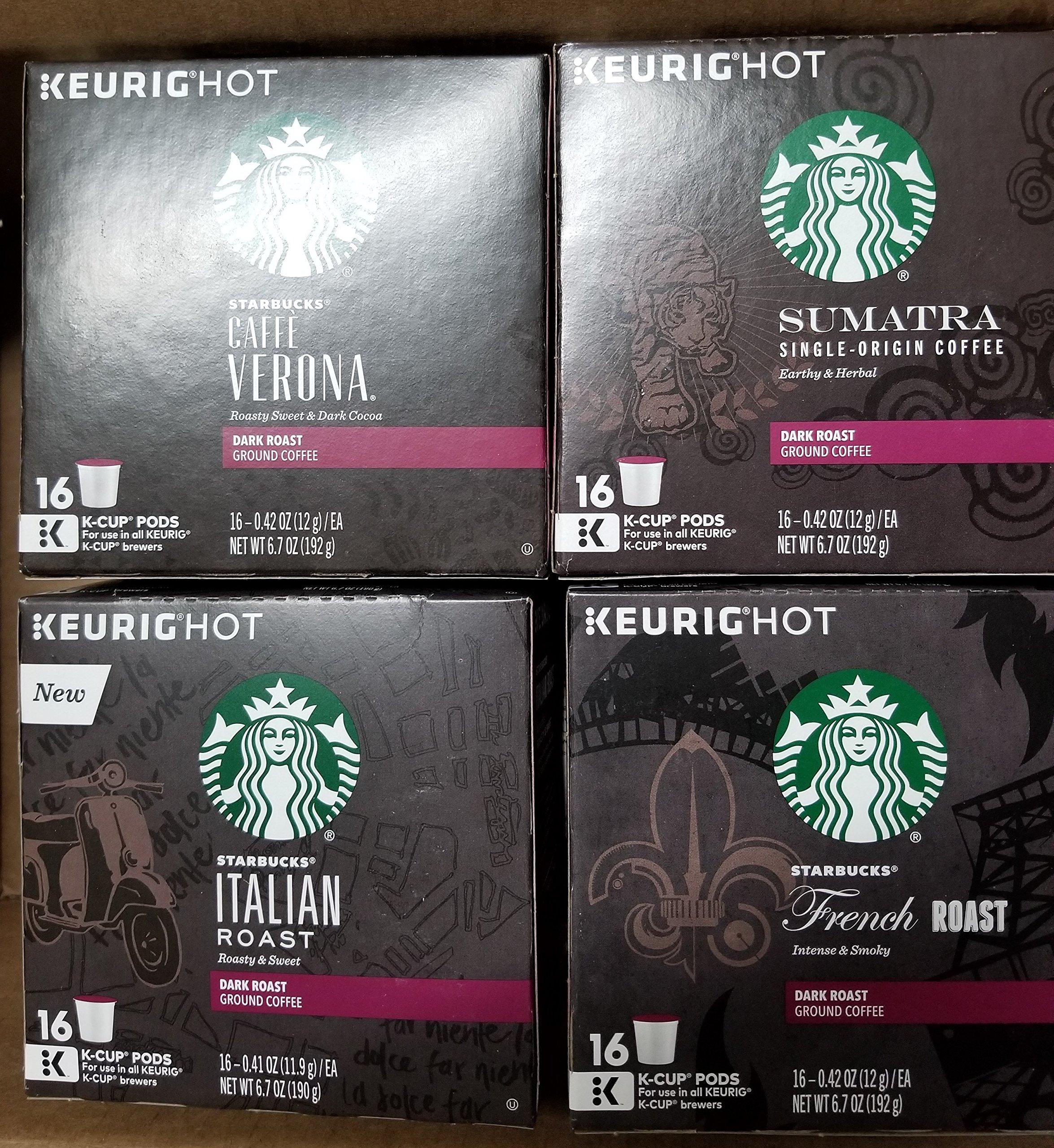 Starbucks Dark Roast Variety Pack 128Ct K-Cup Pods(French Roast- Italian Roast- Caffè Verona-Sumatra )
