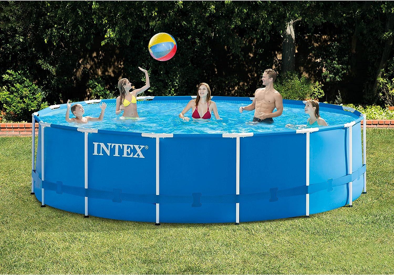 Intex Juego de piscina con marco de metal de 4,5 m x 122 cm con bomba de filtro, escalera, tela de suelo y cubierta de piscina: Amazon.es: Jardín