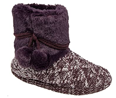 5ab8af0c06f48 Coolers Womens Ladies Boot Slippers/Plum Knitted Warm Lined Slip On ...