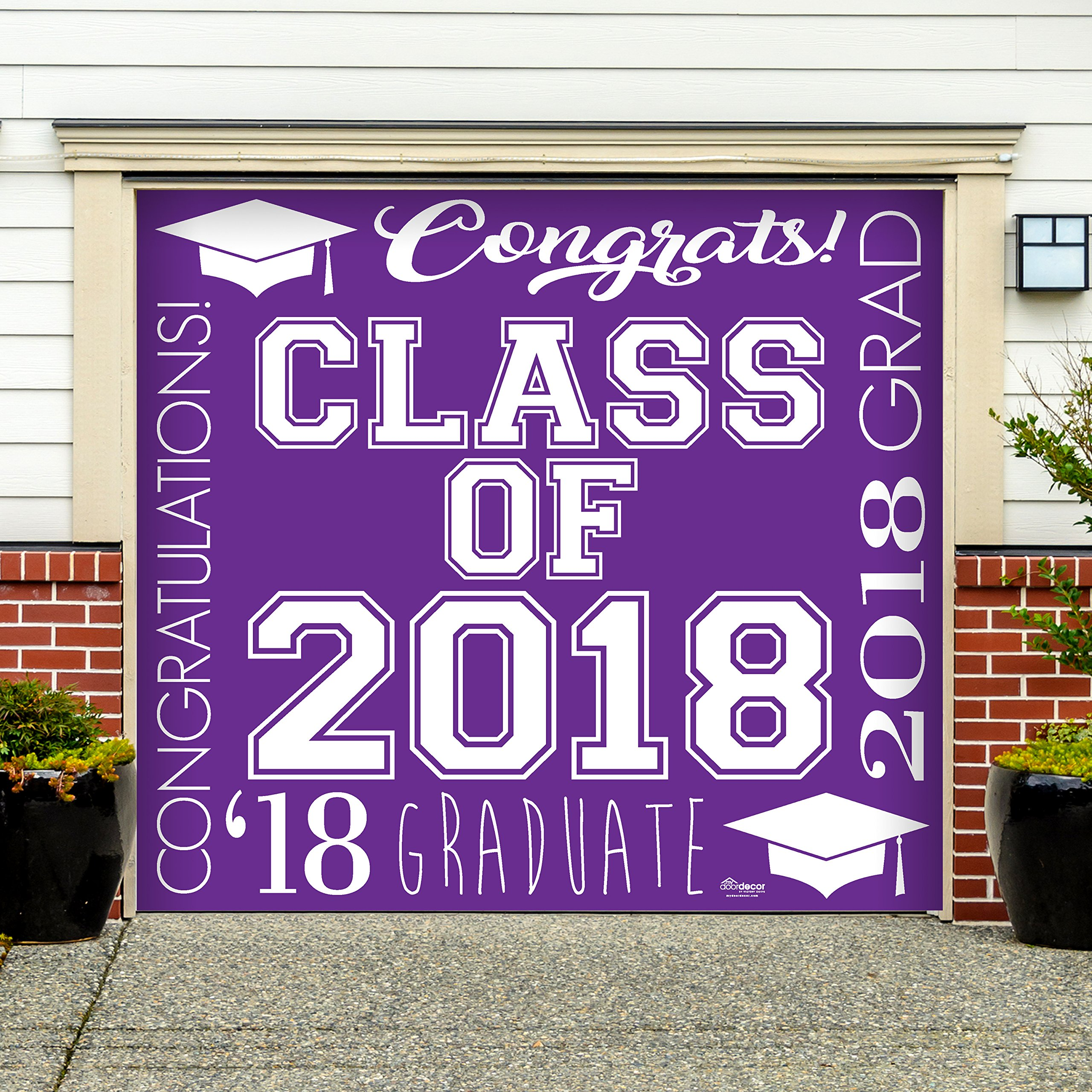 Victory Corps Collage Purple - Outdoor Graduation Garage Door Banner Mural Sign Décor 7'x 8' Car Garage - The Original Holiday Garage Door Banner Decor