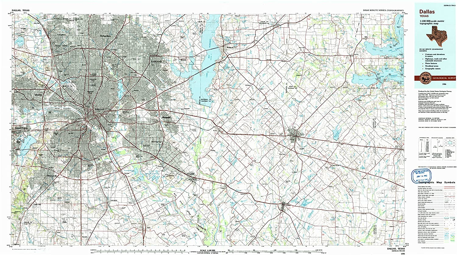 Amazon Com Yellowmaps Dallas Tx Topo Map 1 100000 Scale 30 X 60
