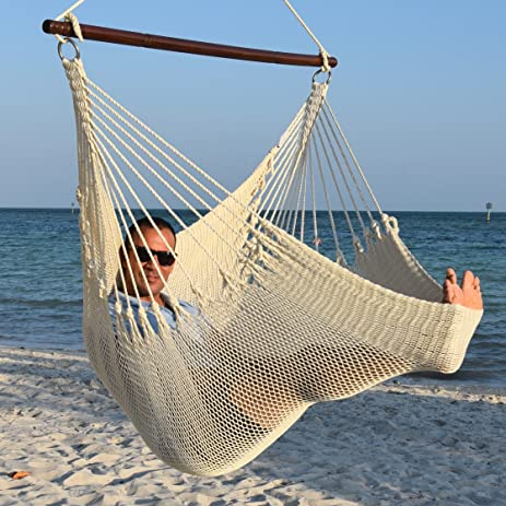 Jumbo Caribbean Hammock Chair With Footrest   55 Inch   Soft Spun Polyester    Cream