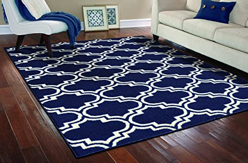 Garland Rug Silhouette Area Rug, 8 by 10-Inch, Indigo Ivory