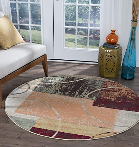 Conner Contemporary Abstract Multi-Color Round Area Rug