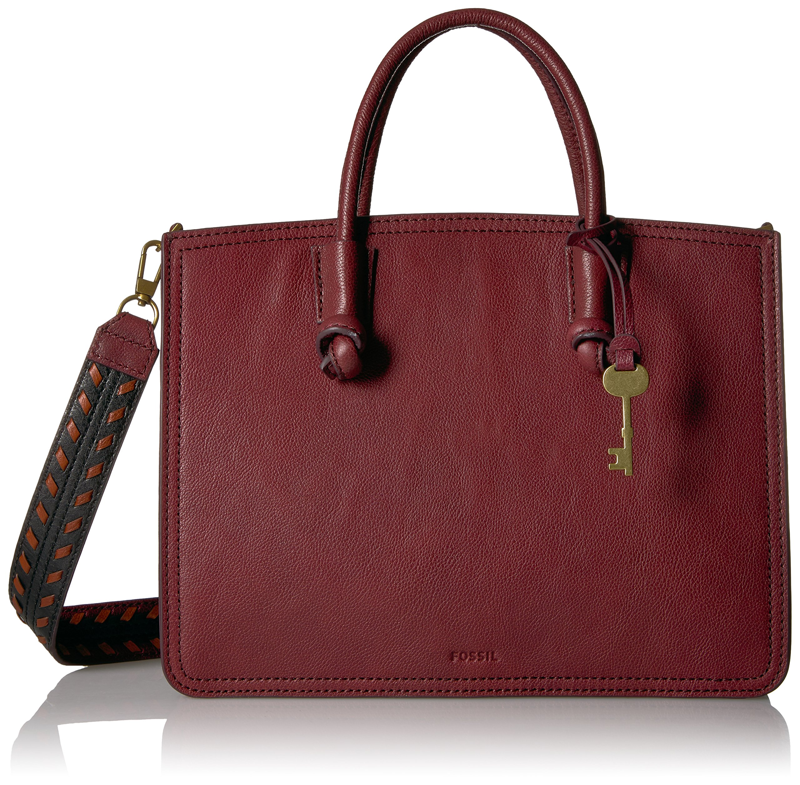 Fossil Skyler Satchel Cabernet with Novelty Strap