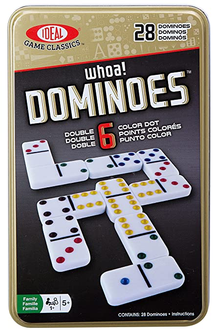 Amazon Ideal Whoa Double 6 Color Dot Dominoes Toys Games