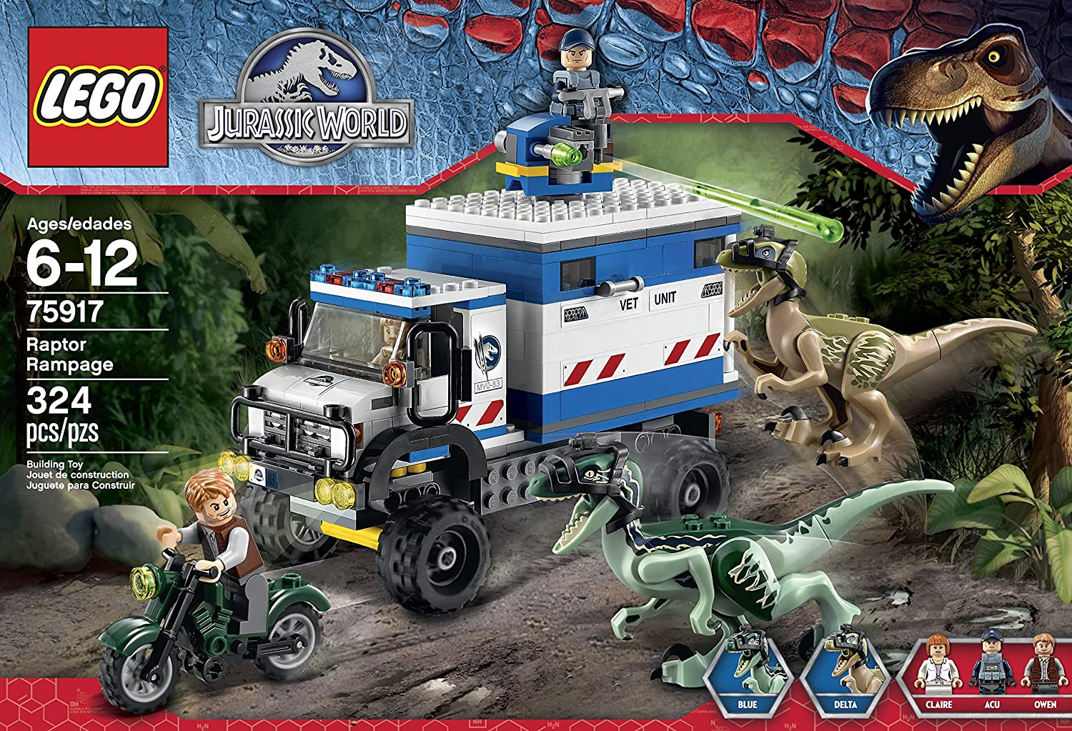 Amazon lego jurassic world raptor rampage 75917 building kit amazon lego jurassic world raptor rampage 75917 building kit toys games gumiabroncs Image collections