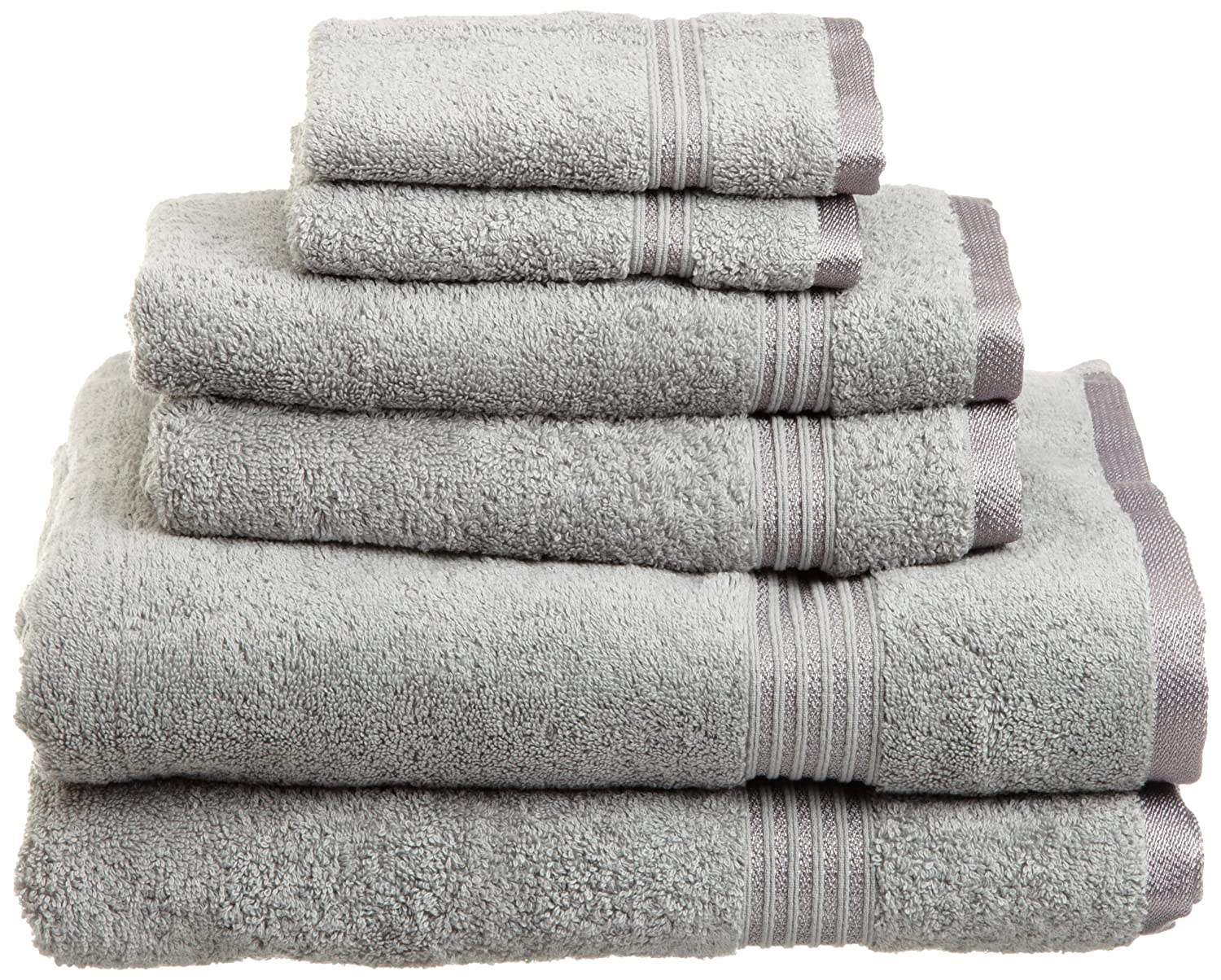 Superior Egyptian Cotton 6-Piece Towel Set, Silver