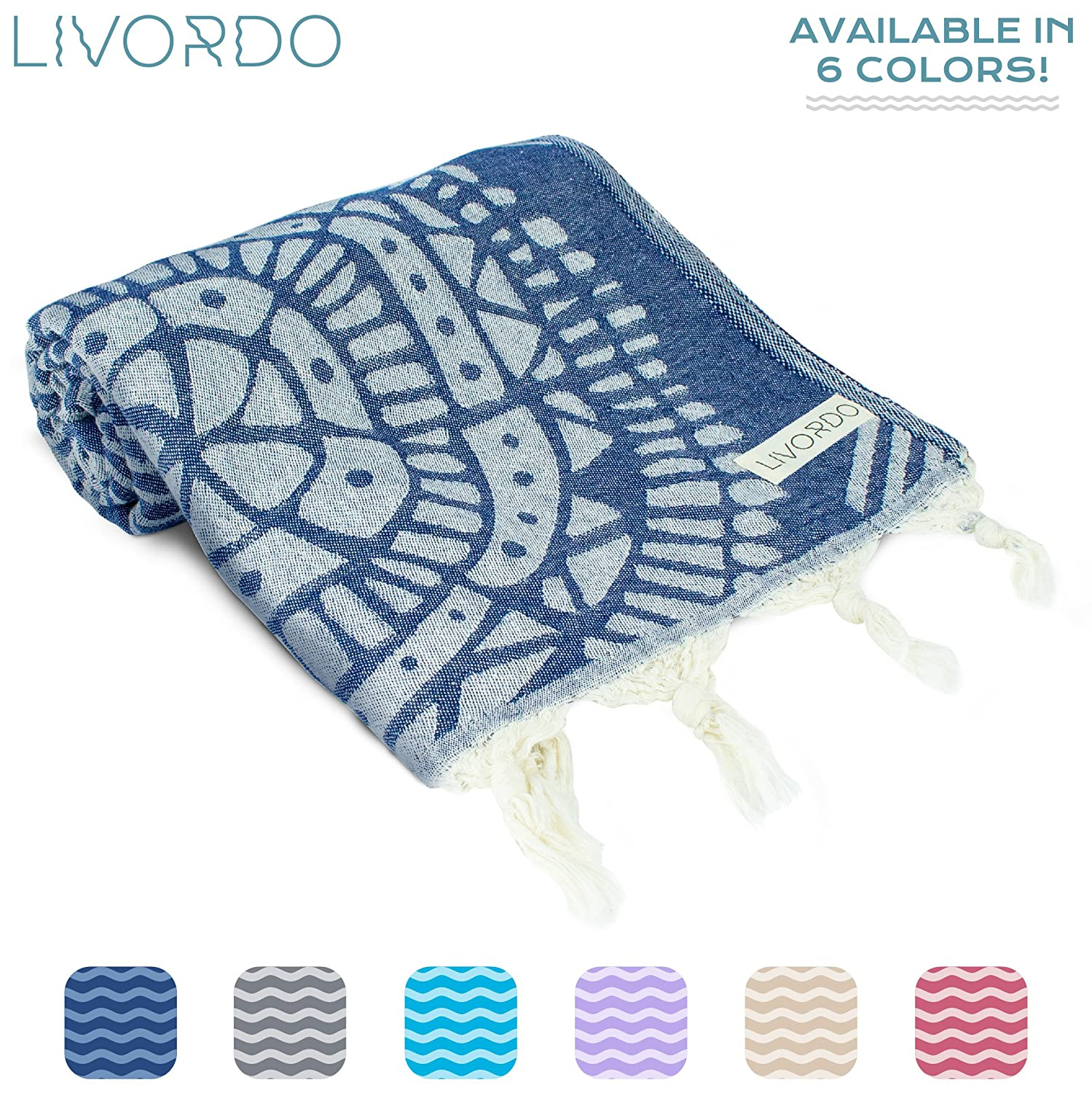 Livordo Turkish Beach Towel Soft, Absorbent 100% Cotton Made in Turkey Quick Dry Lightweight Bath Sheet, Sarong, Pareo, Wrap, Pestemal, Scarf, Spa, Yoga, Gym, Hiking, Camping (NavyBlue)