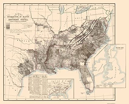 Southern State Map.Amazon Com Old State Map Disributiont Of Slaves In The Southern