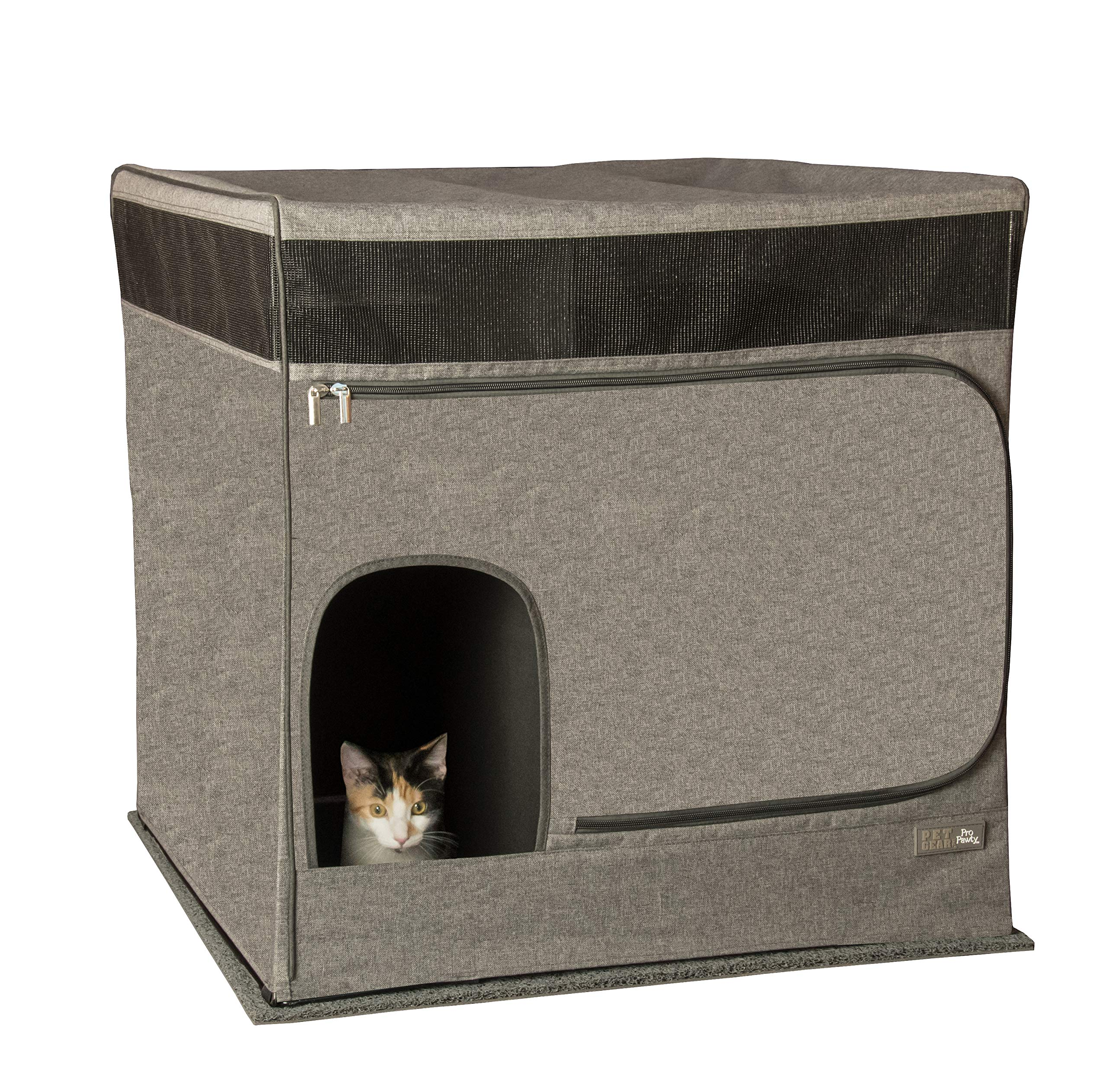 Pet Gear Pro Pawty for Cats with LittertraX Mat, Put an end to Scattered Litter. Box not incl, Soft Charcoal by Pet Gear
