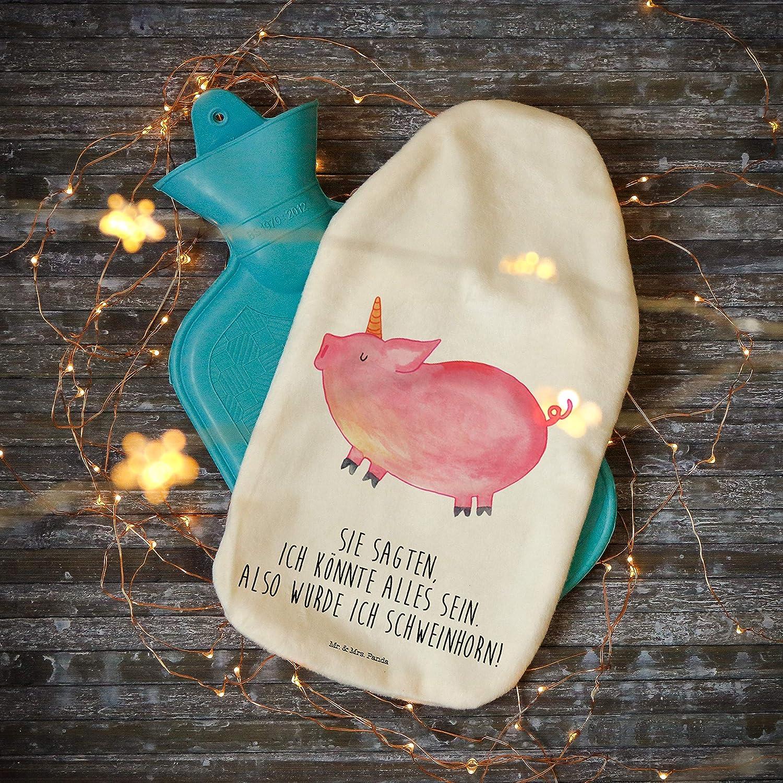W/ärmflasche Einhorn Schweinhorn mit Spruch Farbe Wei/ß Panda W/ärmekissen Mr Kinderw/ärmflasche /& Mrs