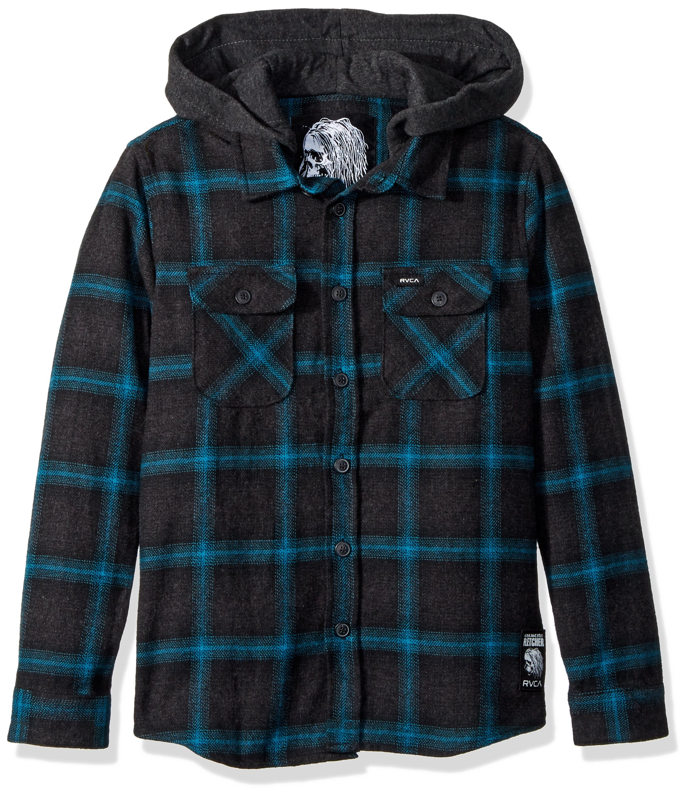 RVCA Boys' Big Good Hombre Long Sleeve Hooded Flannel Shirt, Charcoal Heather L