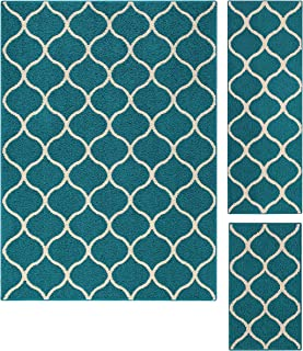 product image for Maples Rugs Rebecca Contemporary Area Rugs Set for Living Room & Bedroom [Made in USA], 3pc, Teal/Sand