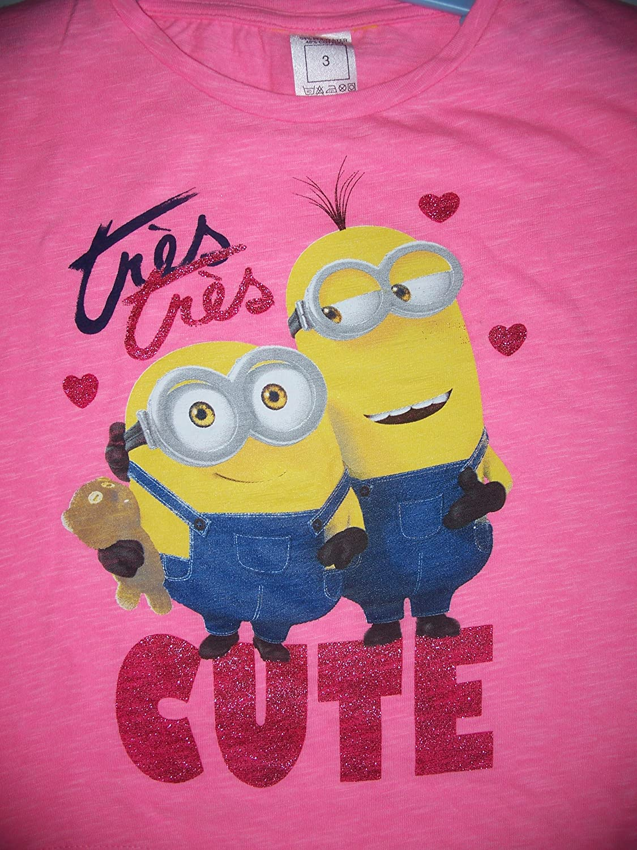 Ex-Store Girls Tr/ès Cute Minion Bright Pink T Shirt