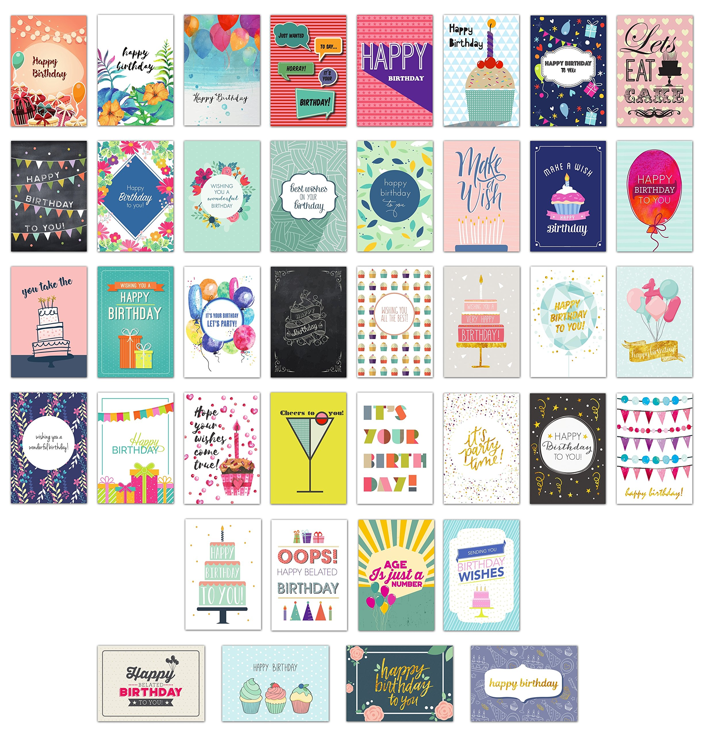 Happy Birthday Cards Bulk Premium Assortment - 40 UNIQUE DESIGNS, GOLD EMBELLISHMENTS, ENVELOPES WITH PATTERNS. The Ultimate Boxed Set of Bday Cards. by Cortesia (Image #1)