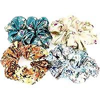 Comelyjewel Set of 4 Women Hair Accessories Set Satin Flower Pattern Elastic Ties Scrunchies for Hair (Floral Print)