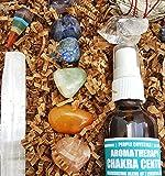 16 pcs Chakra Crystal Healing Kit! / Lot of Chakra tumbles, Amethyst Cluster, Raw stones, Sage, Meditation Spray + more. Bohemian Gift Set!
