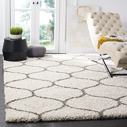 Safavieh Hudson Shag Collection SGH280A Ivory And Grey Moroccan Ogee Plush  Area Rug (6u0027