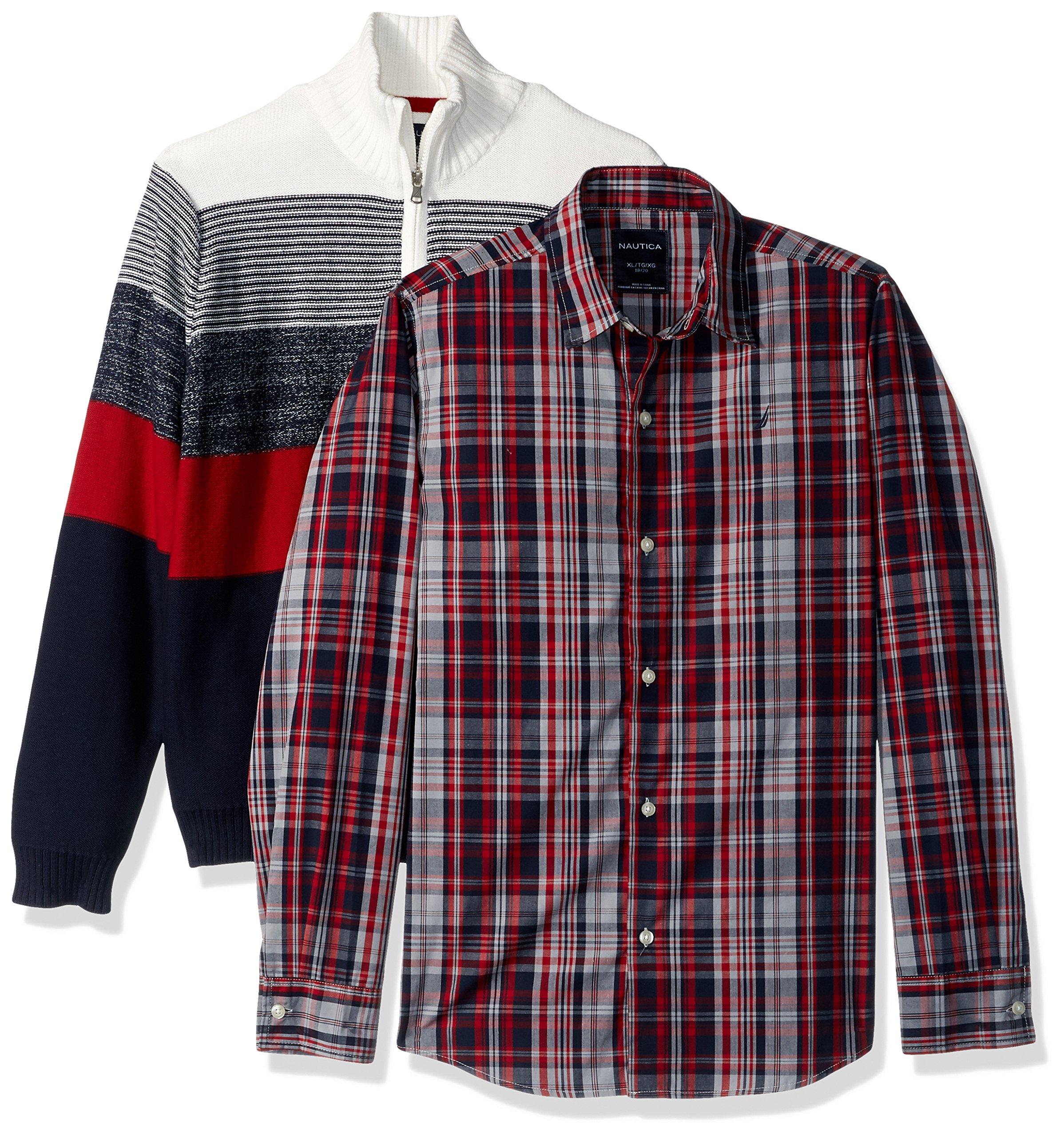 Nautica Boys' Big Two Piece Sweater Set, Cream, Large (14/16)