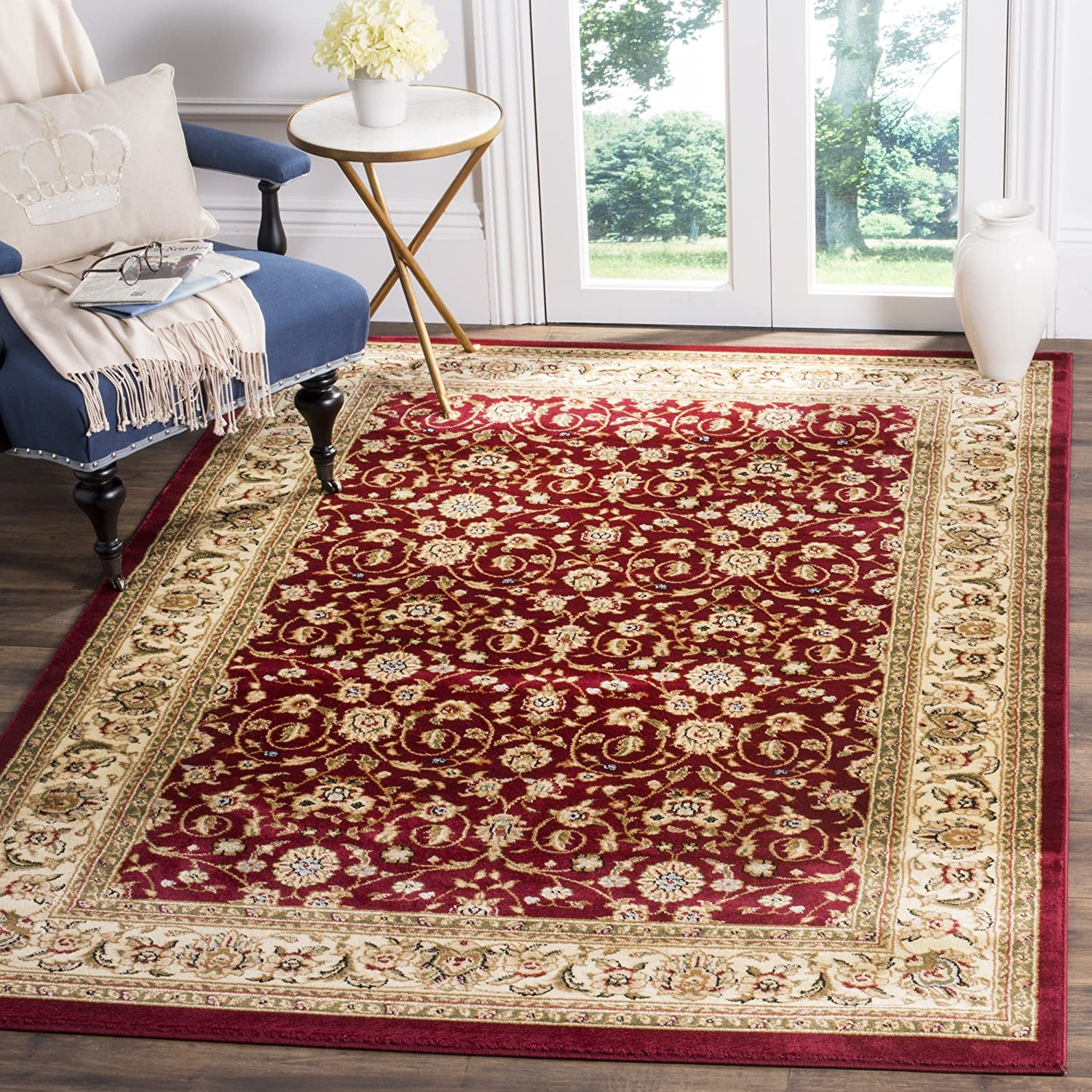 Red Ivory 11' x 15' Safavieh Lyndhurst Collection LNH312B Traditional Oriental Light bluee and Ivory Runner (2'3  x 12')