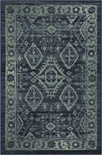 product image for Maples Rugs Georgina Traditional Kitchen Rugs Non Skid Accent Area Carpet [Made in USA], 2'6 x 3'10, Navy Blue/Green