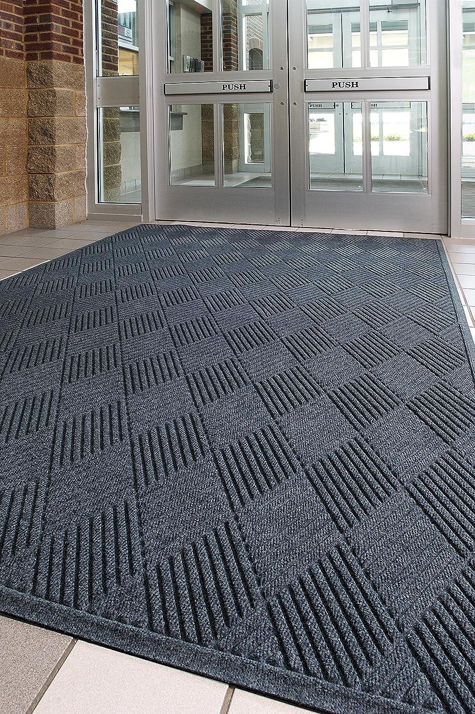 5 Length x 3 Width Evergreen M+A Matting 221 Waterhog Fashion Diamond Polypropylene Fiber Entrance Indoor//Outdoor Floor Mat SBR Rubber Backing 3//8 Thick