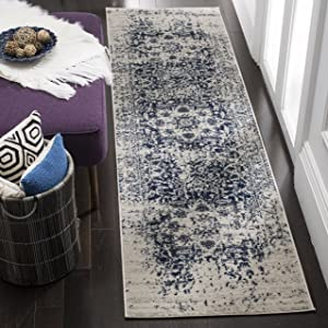 "Safavieh Madison Collection MAD603D Cream and Navy Distressed Medallion Runner (2'3"" x 6')"