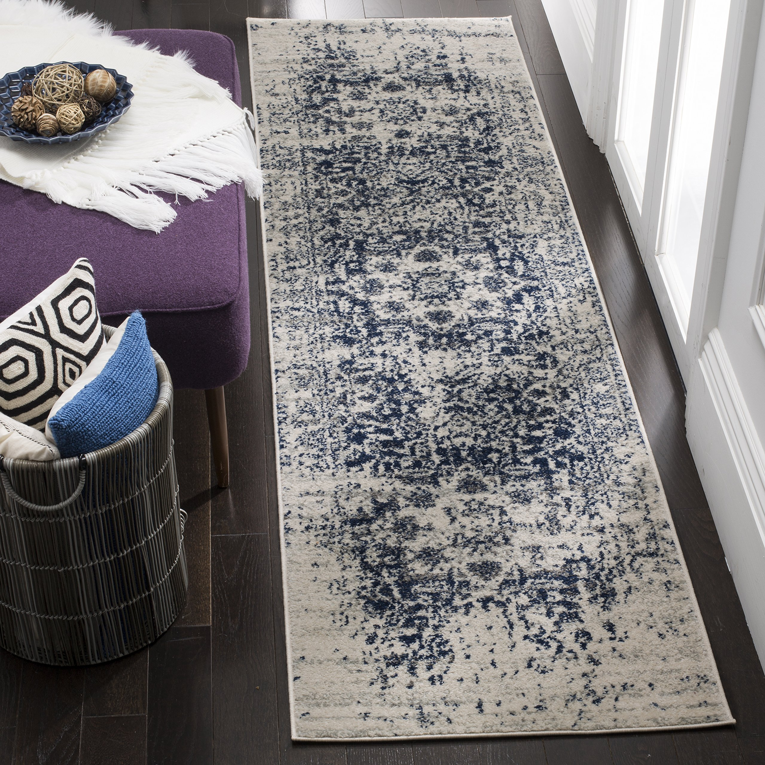 Safavieh Madison Collection MAD603D Cream and Navy Distressed Medallion Multi Runner (2'3'' x 16') by Safavieh